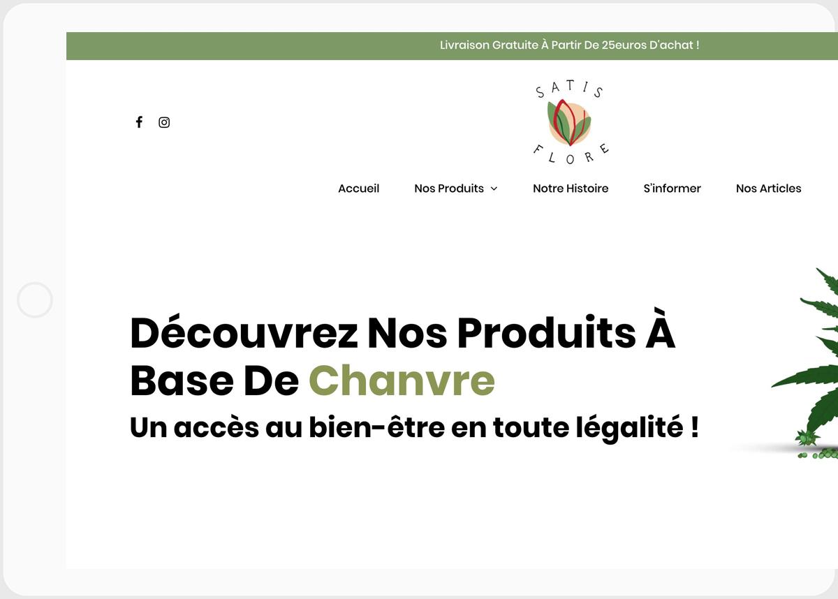 Page d'accueil site client Satisflore