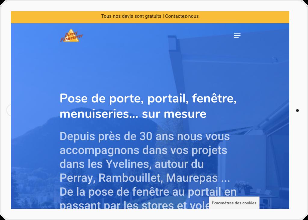 Page d'accueil site client DirectFermetures